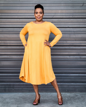 yellow long sleeve midi dress