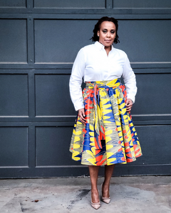 yellow multicolor african print skirt