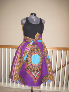 Custom Made African Print Dashiki Midi Skirt
