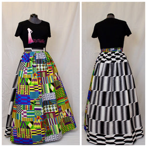 Top Quality African Kente Print Maxi Skirt