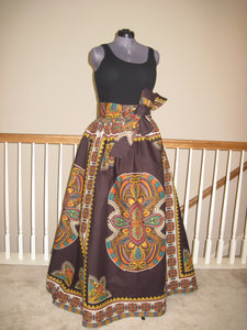 Excellent Quality Custom Made African Dashiki Print Maxi Skirt