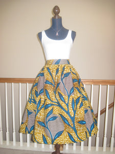 Custom Made African Print Midi Skirt