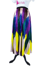 Purple Satin Multicolor Satin Skirt