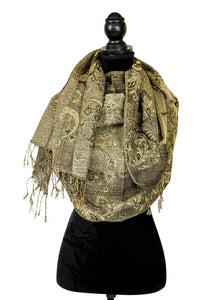 Pashmina Beige and Gold Wrap Shawl