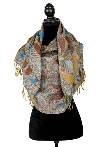 Pashmina Teal and Brown wrap