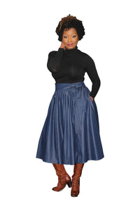 'Oh So Classic' Denim Midi Skirt