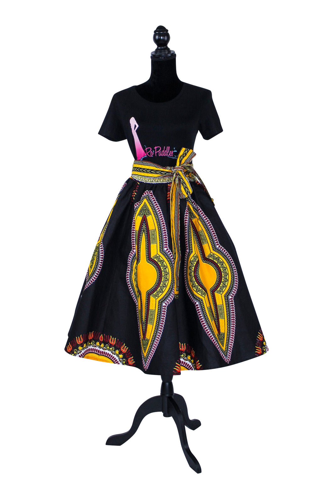 African Print Black and Yellow Dashiki Print Midi Skirt