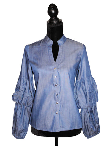 Ruffle Sleeve Denim Shirt for Women