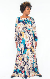 'Indigo Blossoms' Maxi Dress