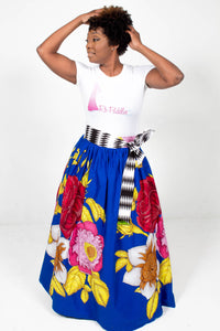 Custom made African Print Floral Maxi Skirt