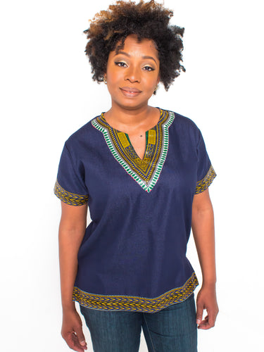 African print denim dashiki skirt