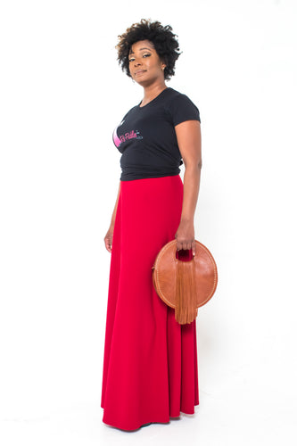 'Cherry Wine' Aline Maxi Skirt