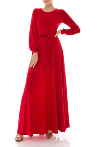 Red maxi dress with long sleeves