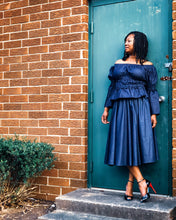 denim midi skirt