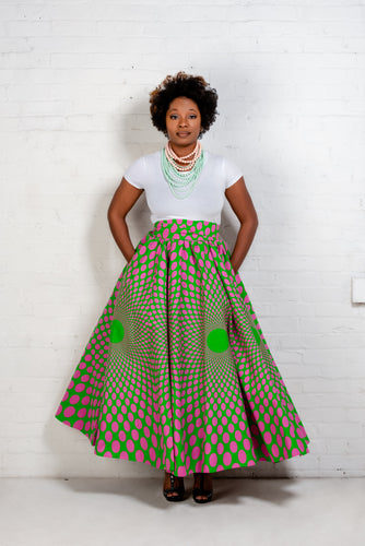 African Print Pink and Green Maxi Skirt