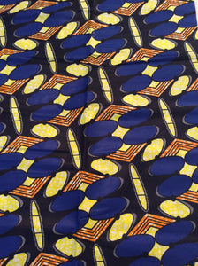 African Print - Blue, Black Yellow Abstract
