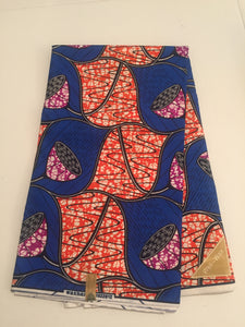 African Print - Blue, Orange Purple Abstract