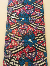 African Print - Blue, Pink Candy Stripes
