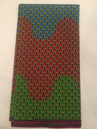 African Print - Blue, Red, Green Swirls