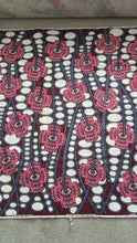 African Print - Burgundy, Gray and White Abstract