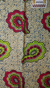 African Print - Cream, Pink and Green Swirls