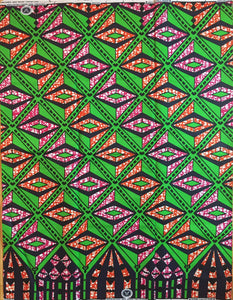 African Print - Blue and Green Border