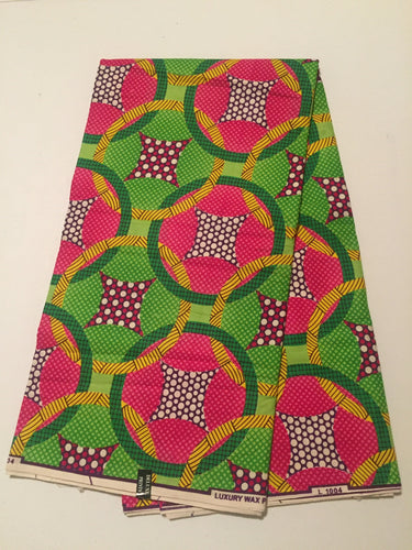 African Print - Green, Pink, Yellow Rings