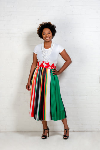 Multicolor pleated midi skirt