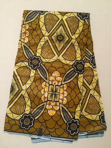 African Print - Olive and Yellow Abstract