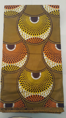 African Print - Olive and Yellow Waterwells