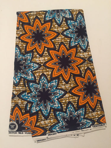 African Print - Orange and Blue Stars