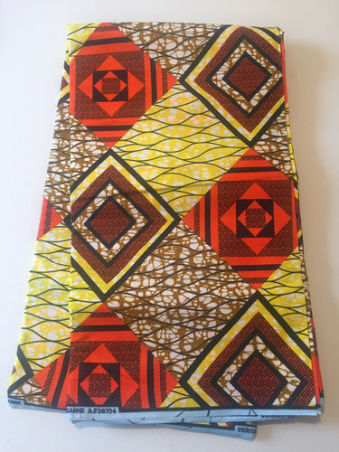 African Print - Orange, Brown, Yellow Diamonds