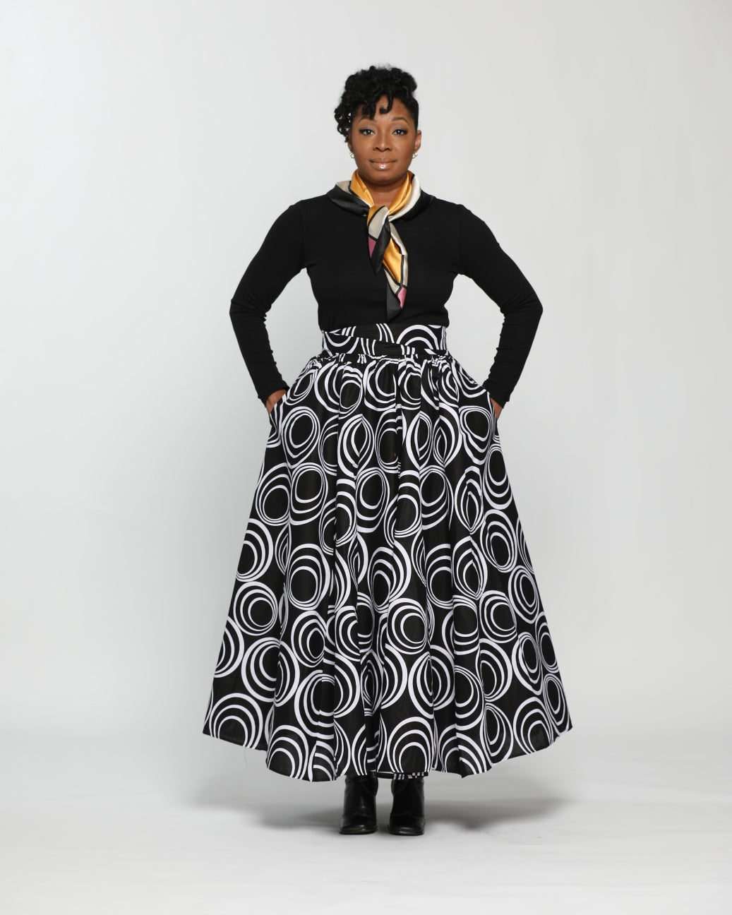 Fashion by RoPuddles African Print black and white maxi skirt