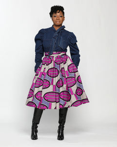 Fashions by RoPuddles African Print purple midi skirt