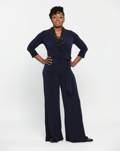 How to style a navy wide leg jumpsuit