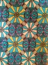 African Print - Turquoise and Black Medallion