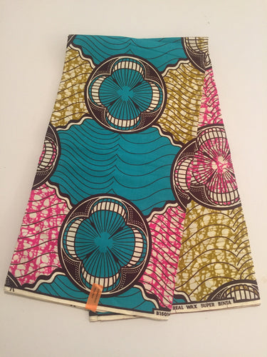 African Print - Turquoise, Pink, Yellow Abstract