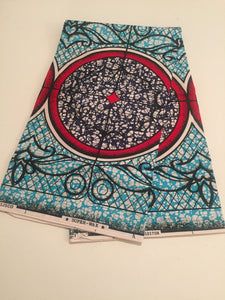 African Print - Turquoise and Red Medallion