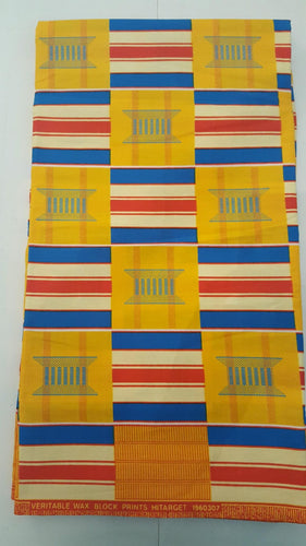 Kente Prints - Yellow, Blue, Red