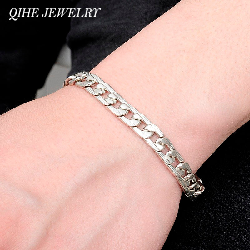 Wrist Chunky Men's Bracelets Silver Tone Hand Chain Curb Link
