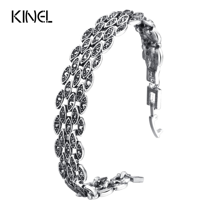 Bright Black Crystal Bracelet For Women Antique Silver Color Little Eye Link Bracelet