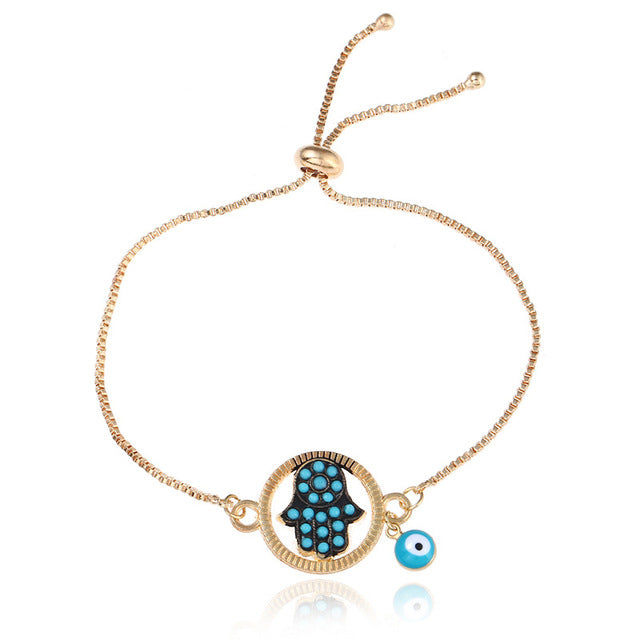 Bracelet Crystal Evil Eye Hand Chain Bracelet Alloy Chain