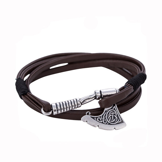 Men's Ax Wrap Anchor Viking Bracelet Men's Leather Bangle Bracelet