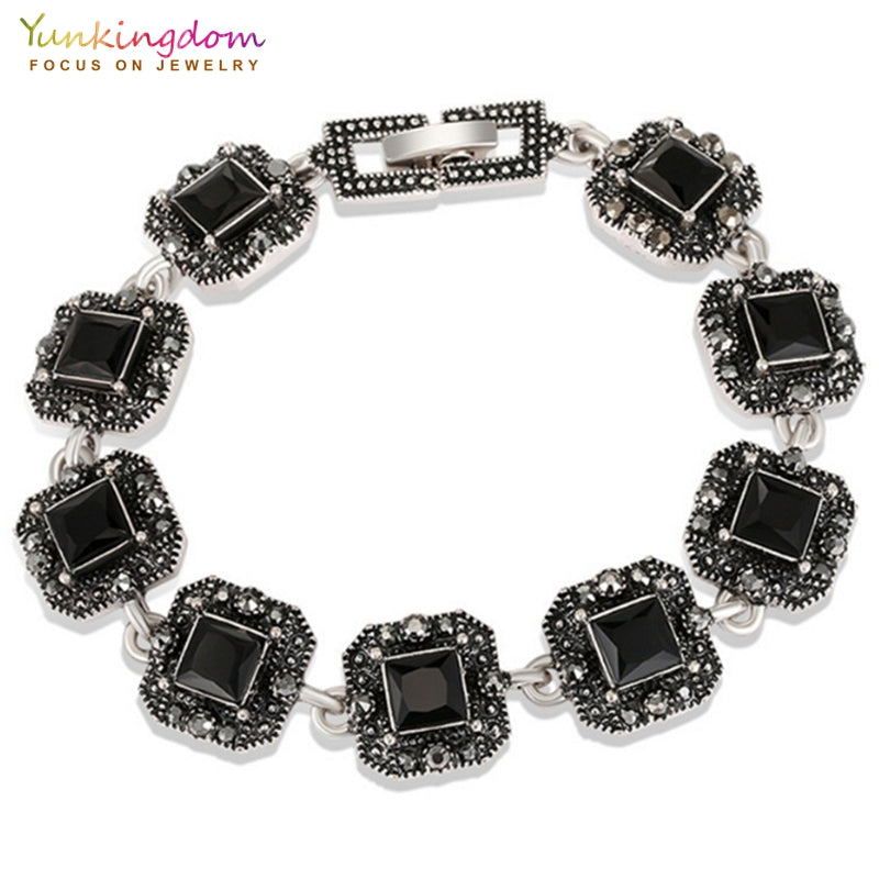 square three color resin ancient silver color charm bracelets vintage jewelry