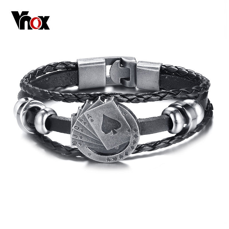 Lucky Vintage Men's Leather Bracelet Playing Cards Vegas Multilayer Braided