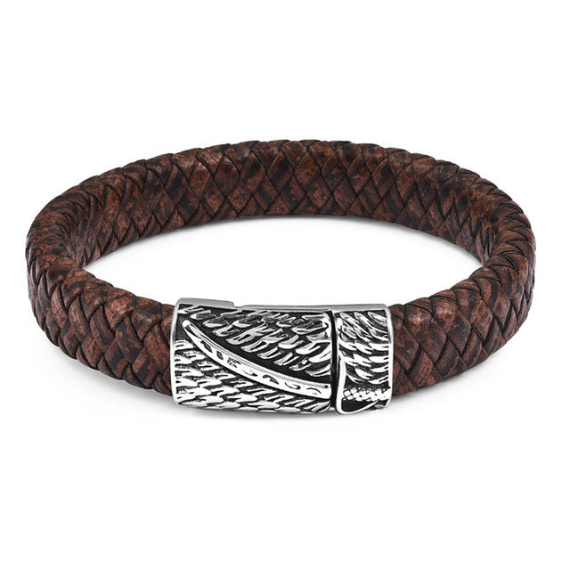 Jewelry Braided Leather Bracelet for Men Stainless Steel Magnetic Clasp