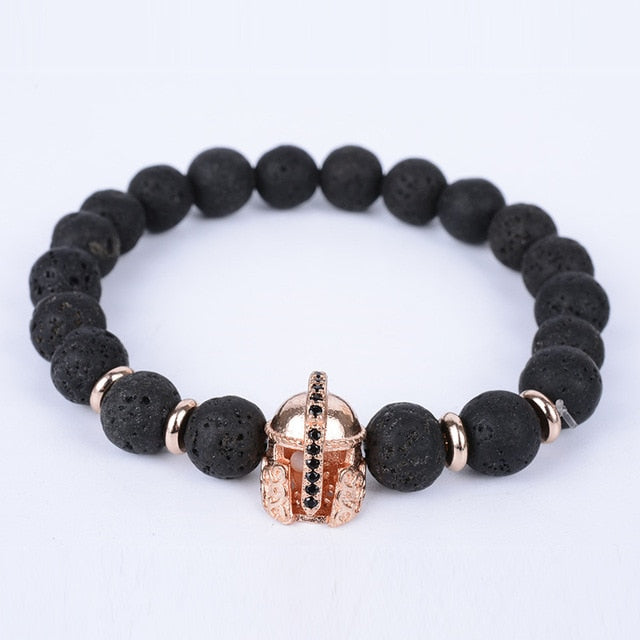 Lava Stone bead Classic Antique helmet charm bracelet bangle