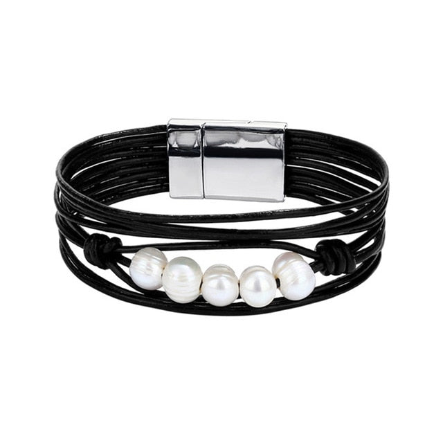 Multilayer Beads Leather Bracelet Bangle Classic Rope Chain