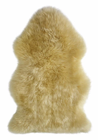 Sheepskin Rug Natural Shaped Auskin - Single 100 x 60cm - Furry Sheepskin