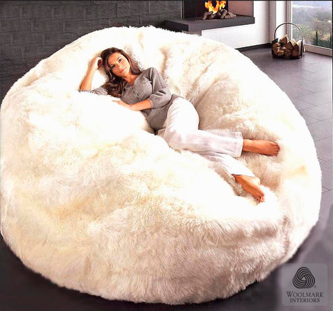 Sheepskin Beanbag Filled Auskin - jumbo - Furry Sheepskin
